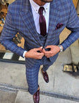 Ardenza Indigo Slim Fit Plaid Suit