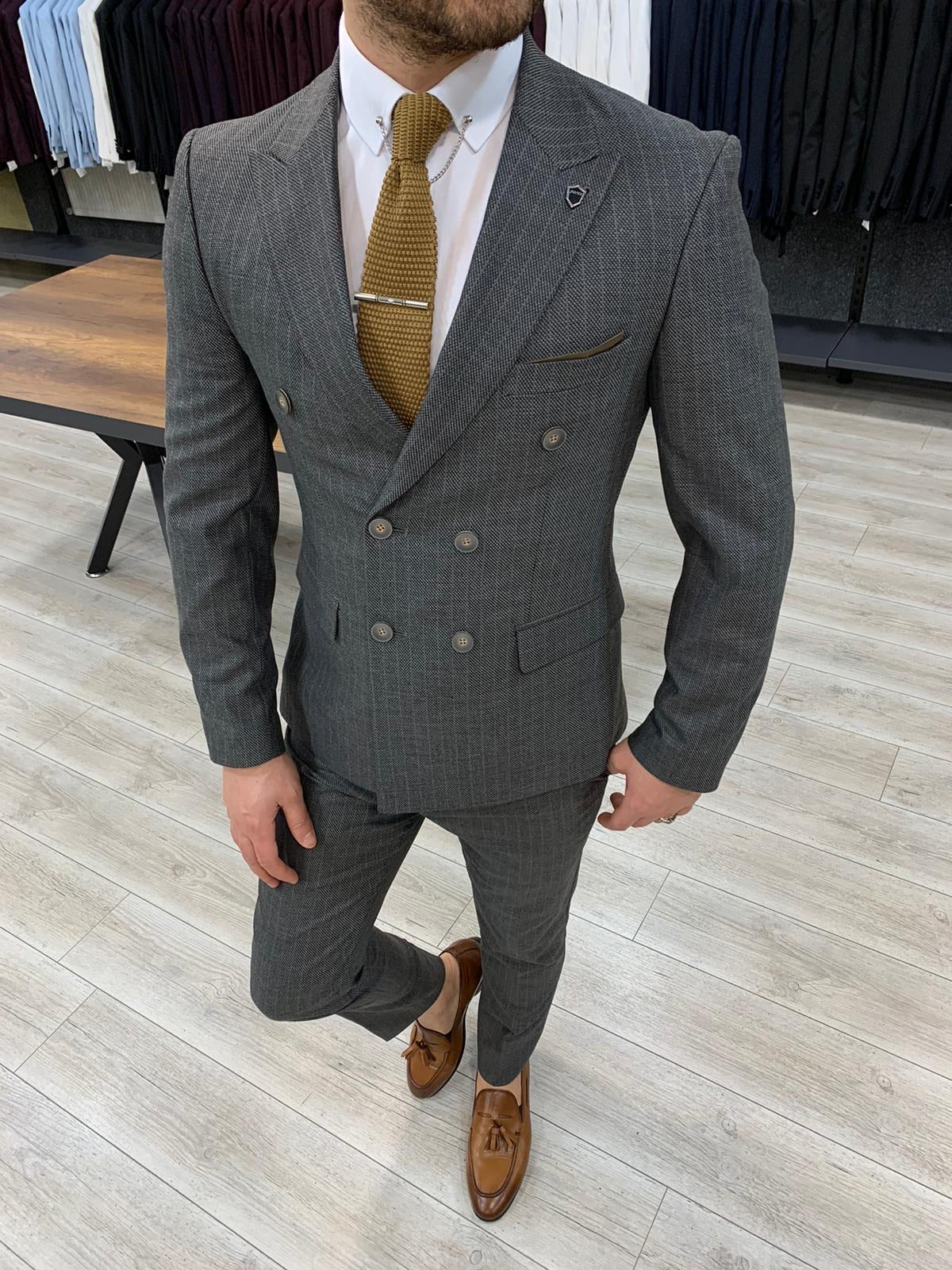 Zapali Gray Double Breasted Slim Fit  Suit