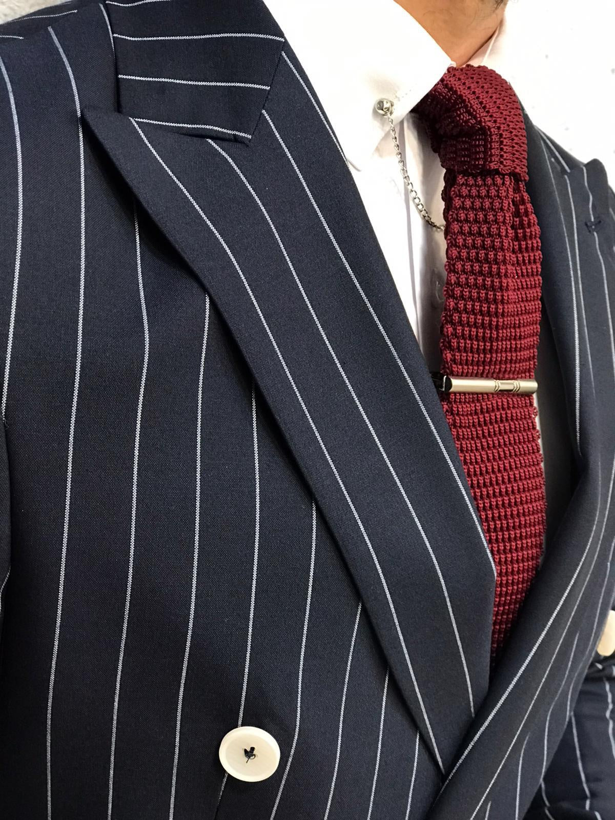 Louis Slim Fit Double Breasted Navy Suit