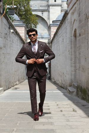 Slim-Fit Patterned Suit Vest Claretred