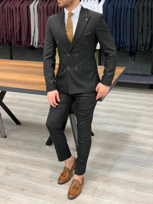 Zapali Black Double Breasted Slim Fit  Suit