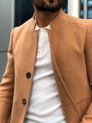 Slim-Fit Wool Coat Camel
