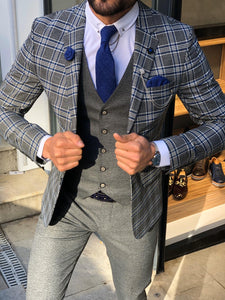 Macr Slim-Fit Plaid Suit Vest Sax
