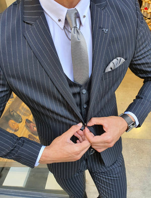 Reno Black Slim Fit Pinstripe Suit
