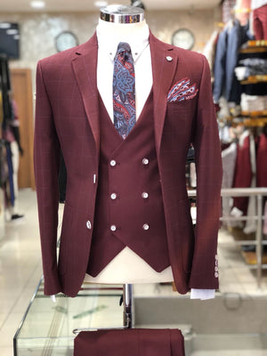 Slim-Fit Plaid Suit Vest Bordeaux