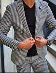 Verno Black Slim Fit Striped Blazer