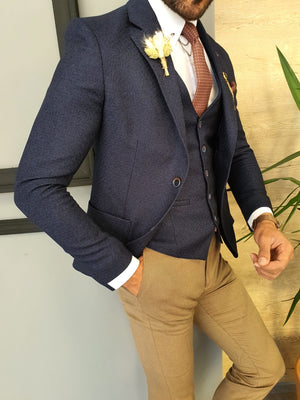Severi Navy Blue Slim Fit Suit