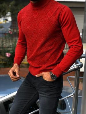Slim-Fit Patterned Turtleneck Knitwear (3 Colors)