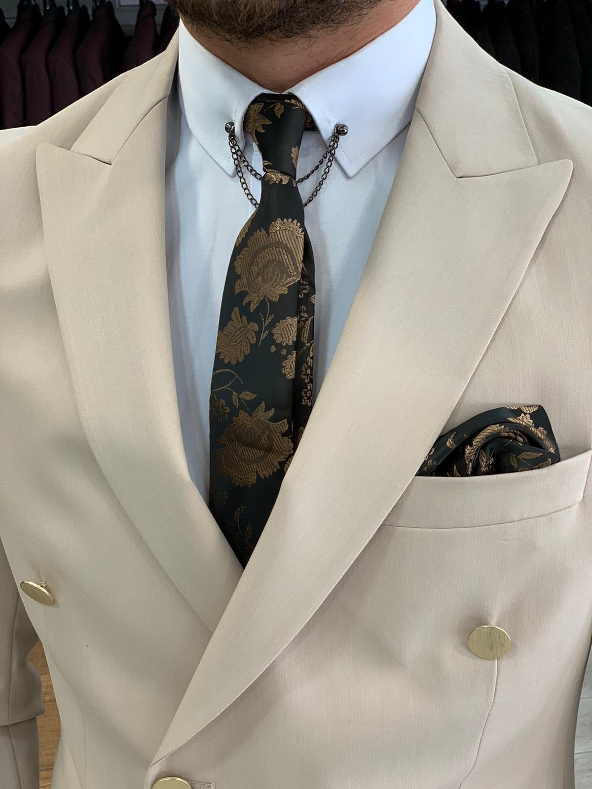 Crystal Double Breasted Cream Suit