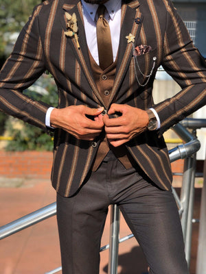 Lazi Slim-Fit Striped Suit Vest Brown