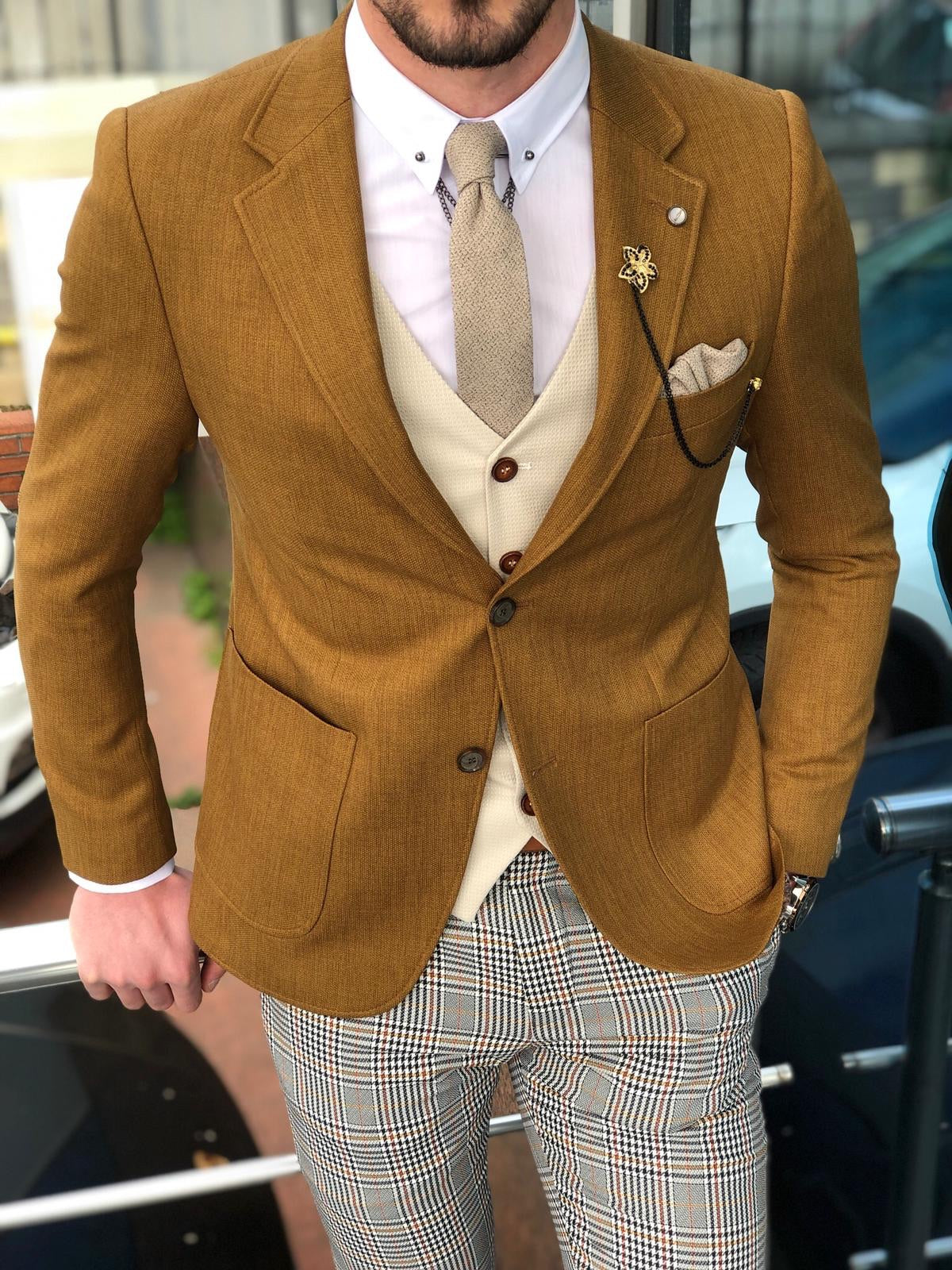 Anas Slim-Fit Cotton  Suit Vest Camel