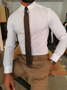 Severi White Slim Fit Chain Collar Shirt