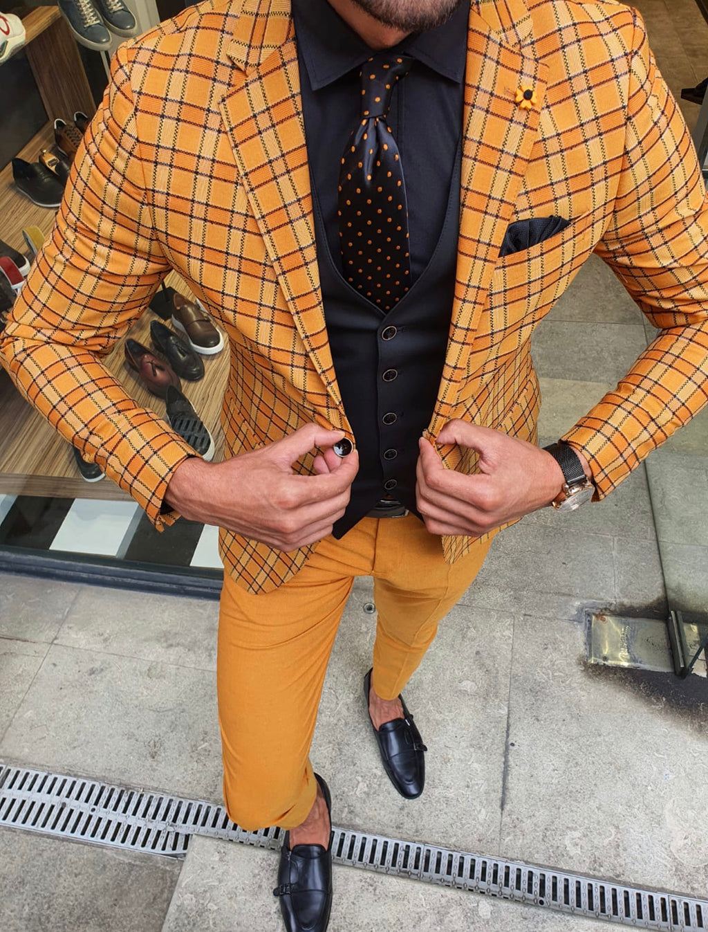 Tommy Mustard Slim Fit Plaid Suit