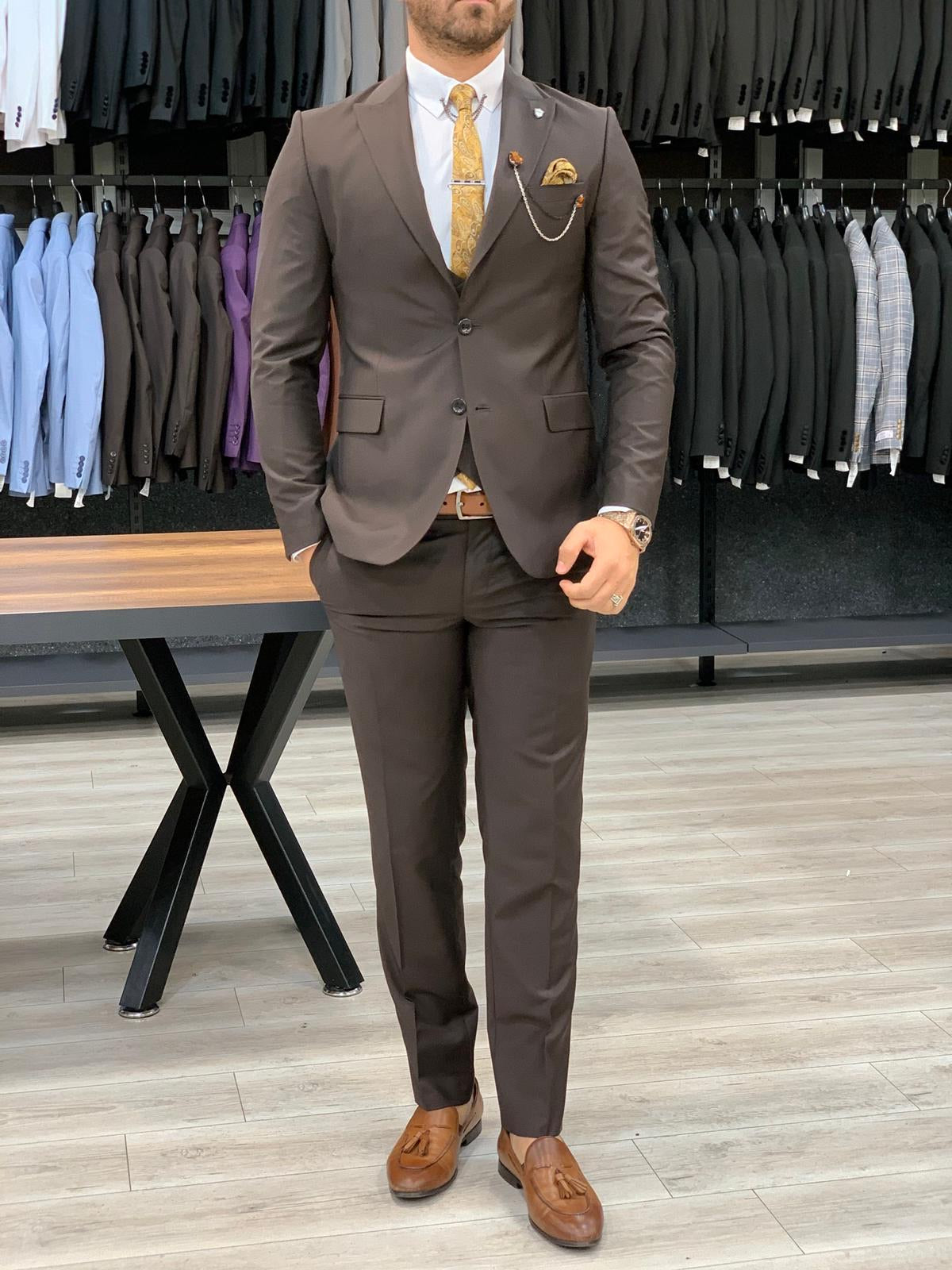 Verona Brown Slim Fit Wool Suit