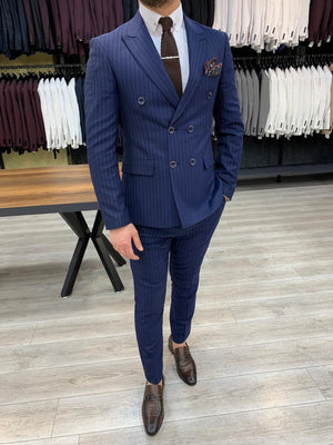 Zapali Navy Blue Double Breasted Slim Fit  Suit