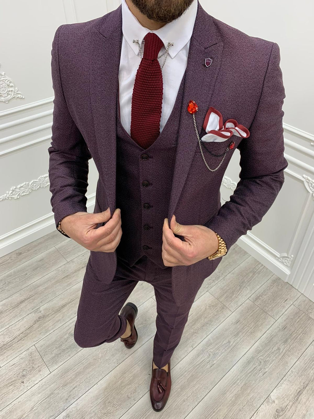 Casatani Claret Red Slim Fit  Suit