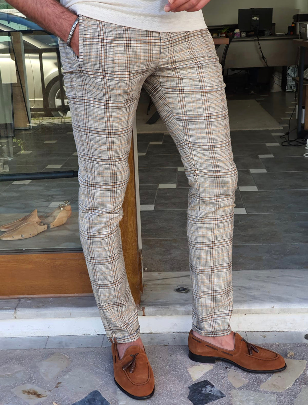 Vicenza Brown Slim Fit Plaid Pants