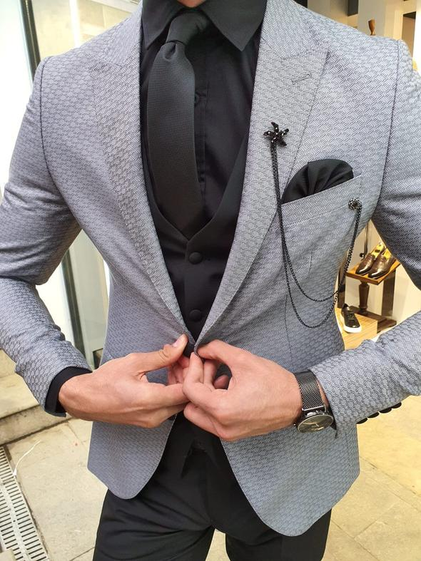 Novak Gray Slim Fit Patterned Suit
