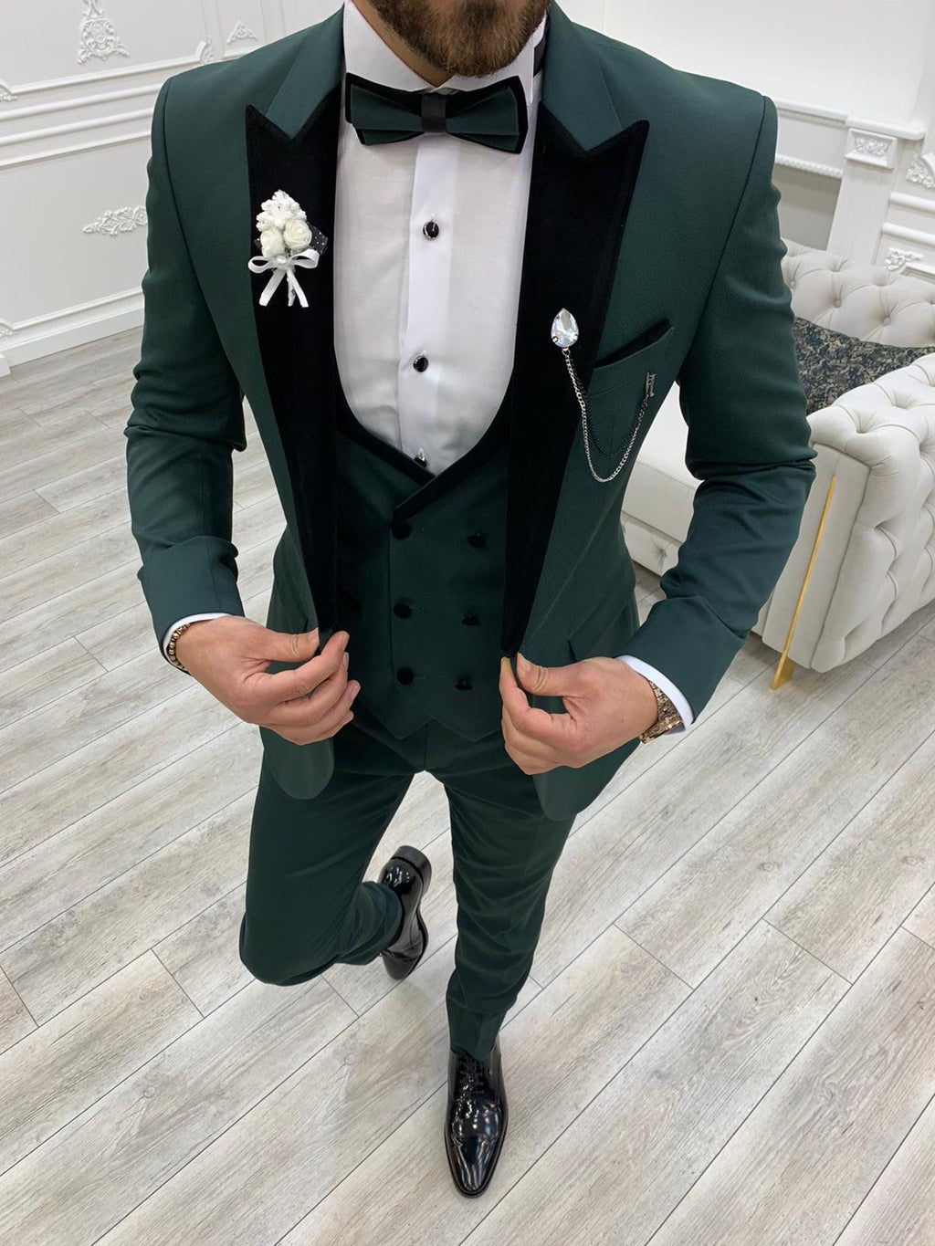 Partoni Royal Green Velvet Slim Fit Tuxedo