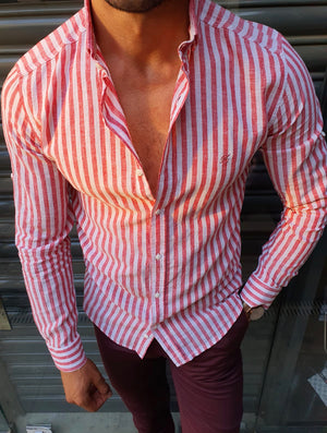 Ardenza Claret Red Slim Fit Striped Shirt