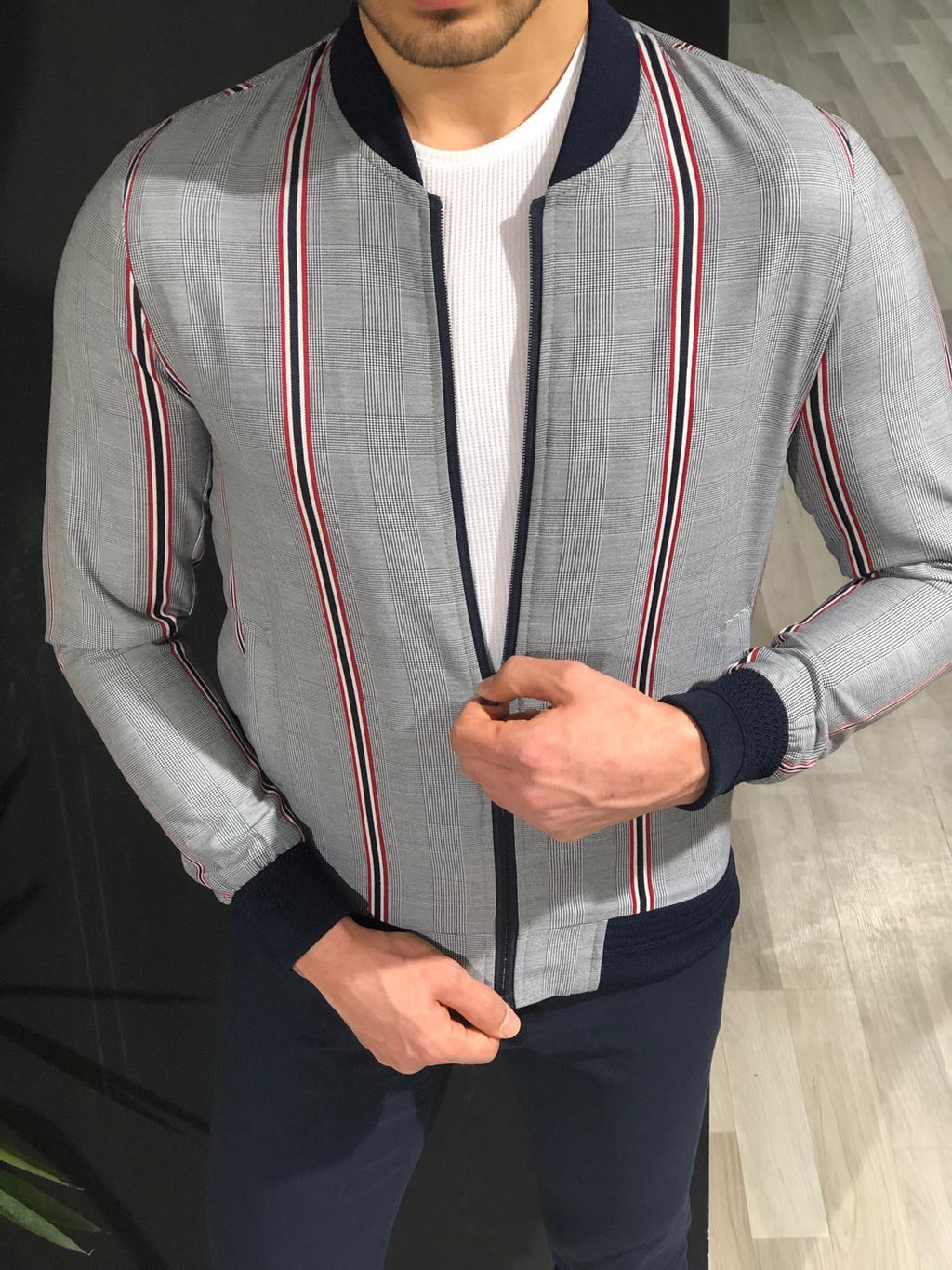Faha Slim-Fit Colored Striped Jacket in Red