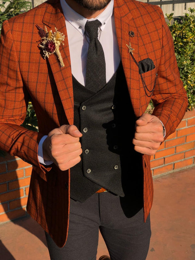 Tommy Slim-Fit Plaid Suit Vest Tile