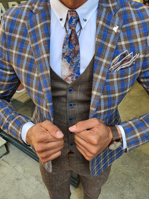 Caravajo Camel Slim Fit Plaid Check Suit