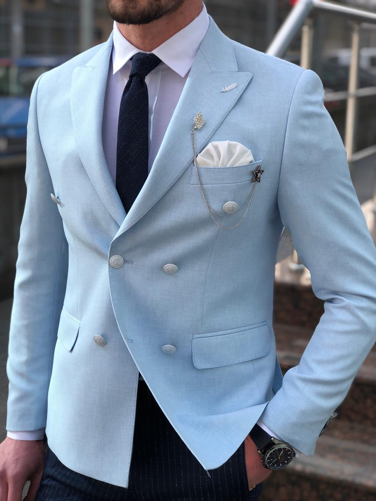 Slim-Fit Double Breasted Blazer in Blue