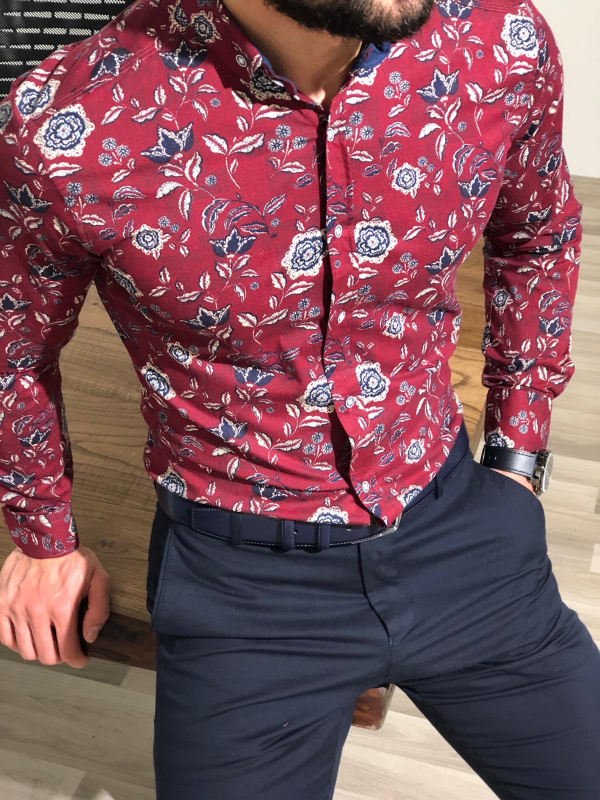 Slim-Fit Buttoned Shirt Claret red