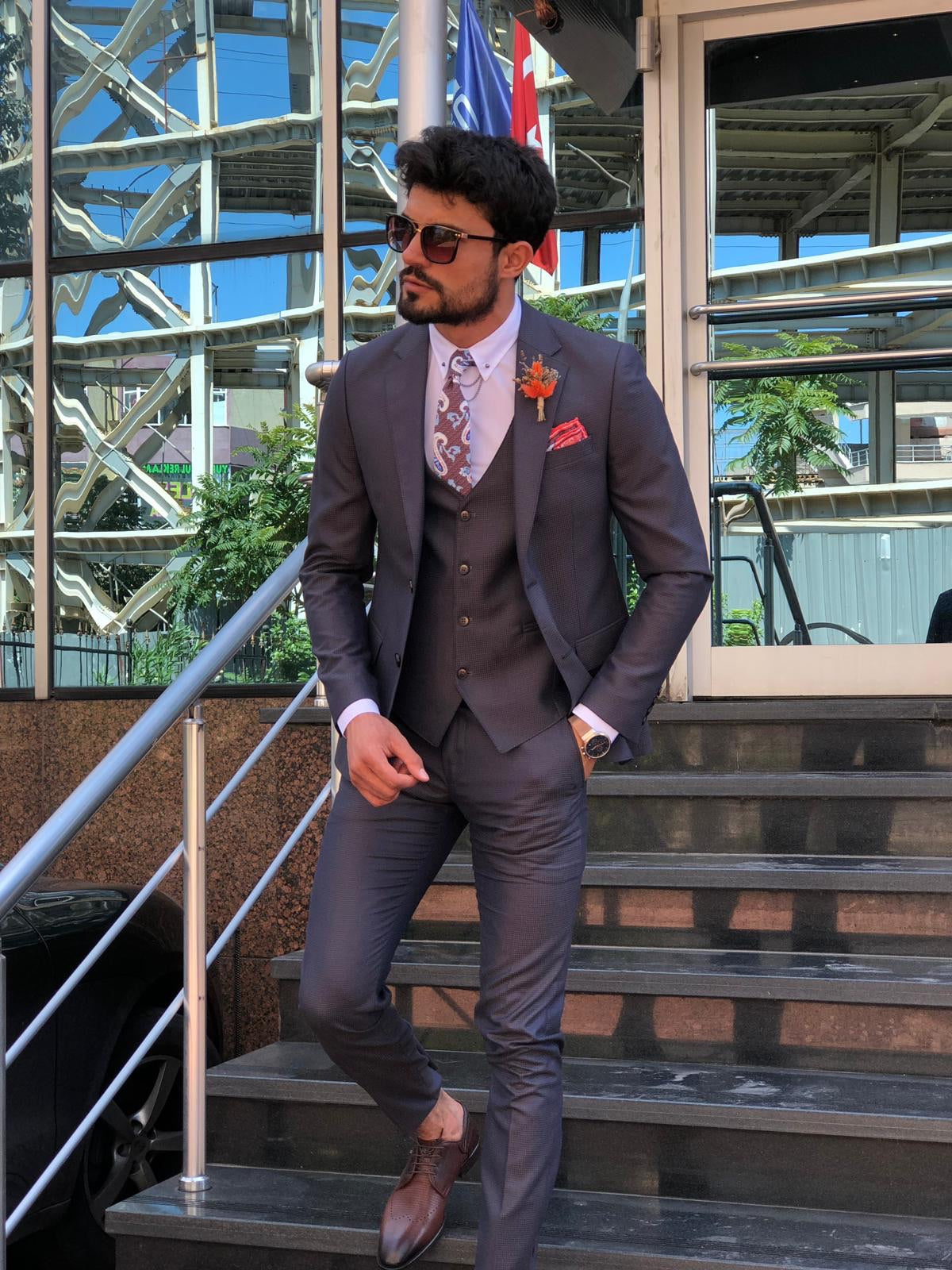 Capot Slim-Fit Suit in Blue