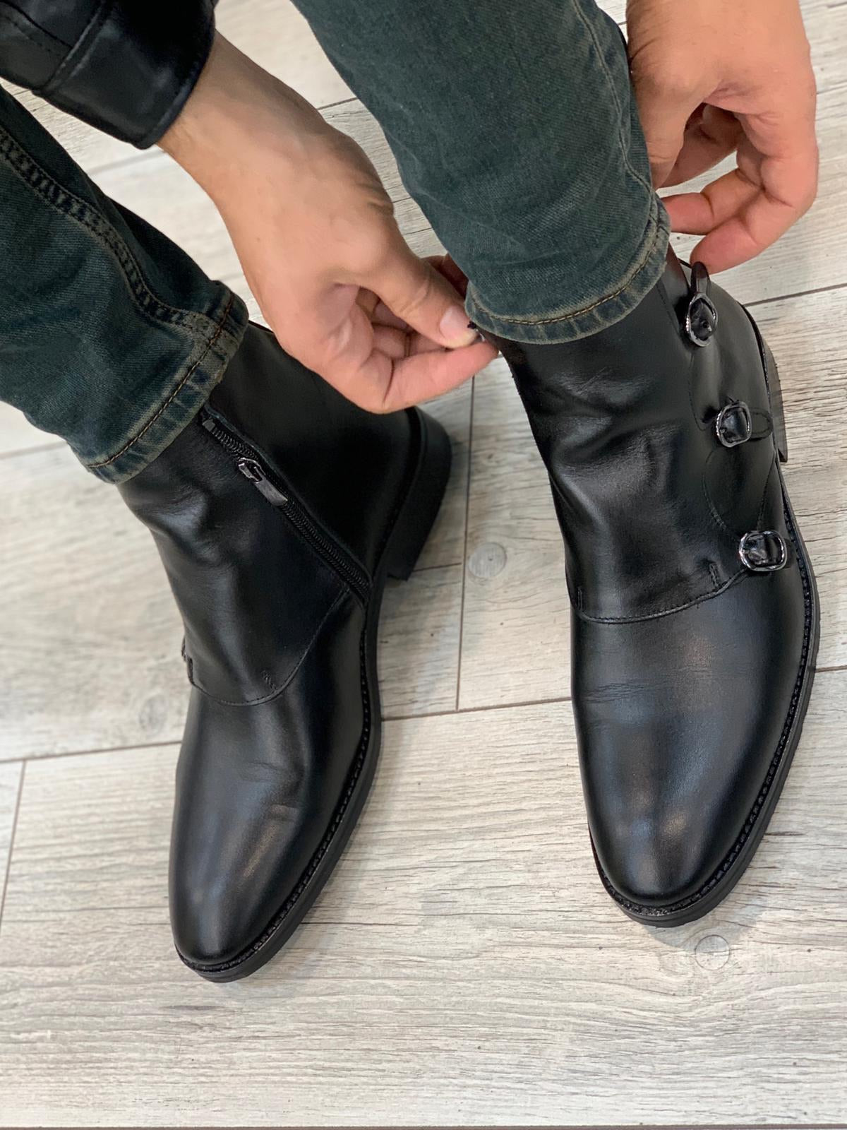 Baliko Leather Chelsea Boots Black