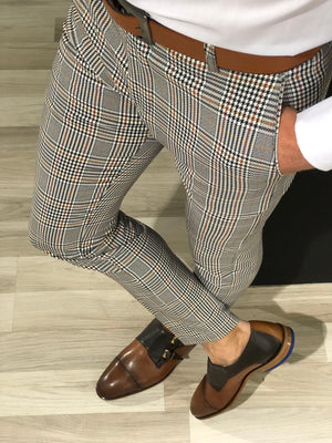 Ferra Slim Fit Plaid Pants in Orange