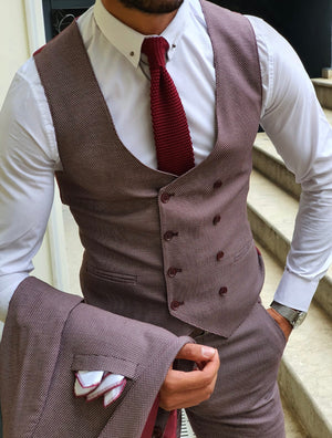 Midvale Caret Red Slim Fit Suit