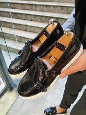 VillaNova Black Double Monk Strap Espadrille Loafer