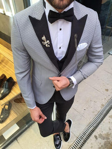Novak  Gray Slim Fit Patterned Tuxedo