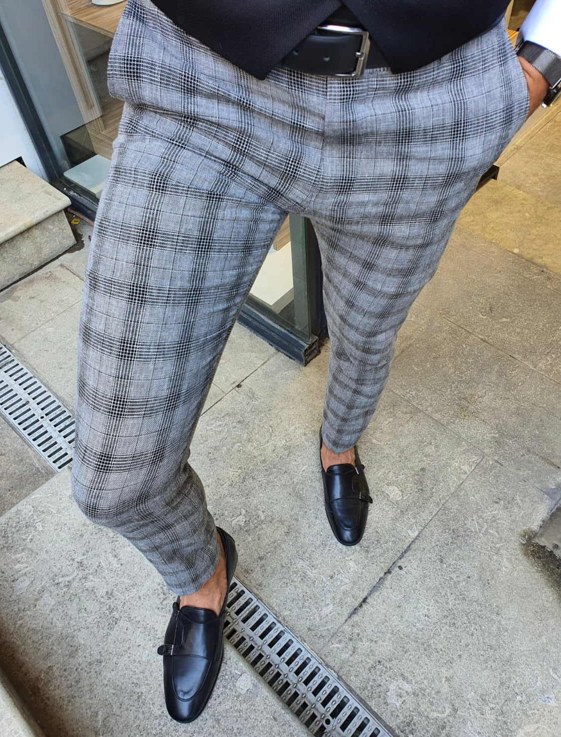 New Bern Black Slim Fit Plaid Pants