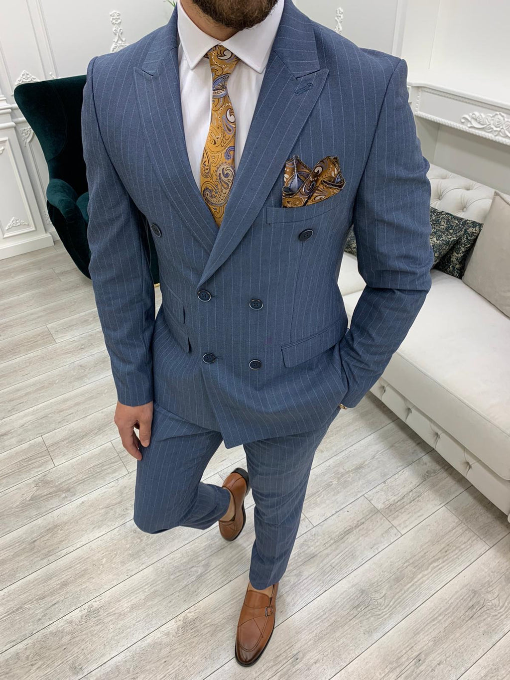 Furino Blue Slim Fit Double Breasted Pinstripe Suit