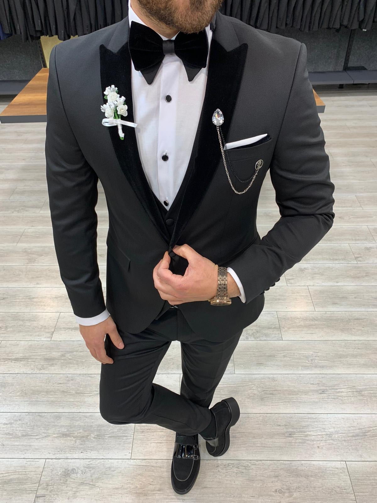 Catani Velvet Black Slim Fit Tuxedo #4