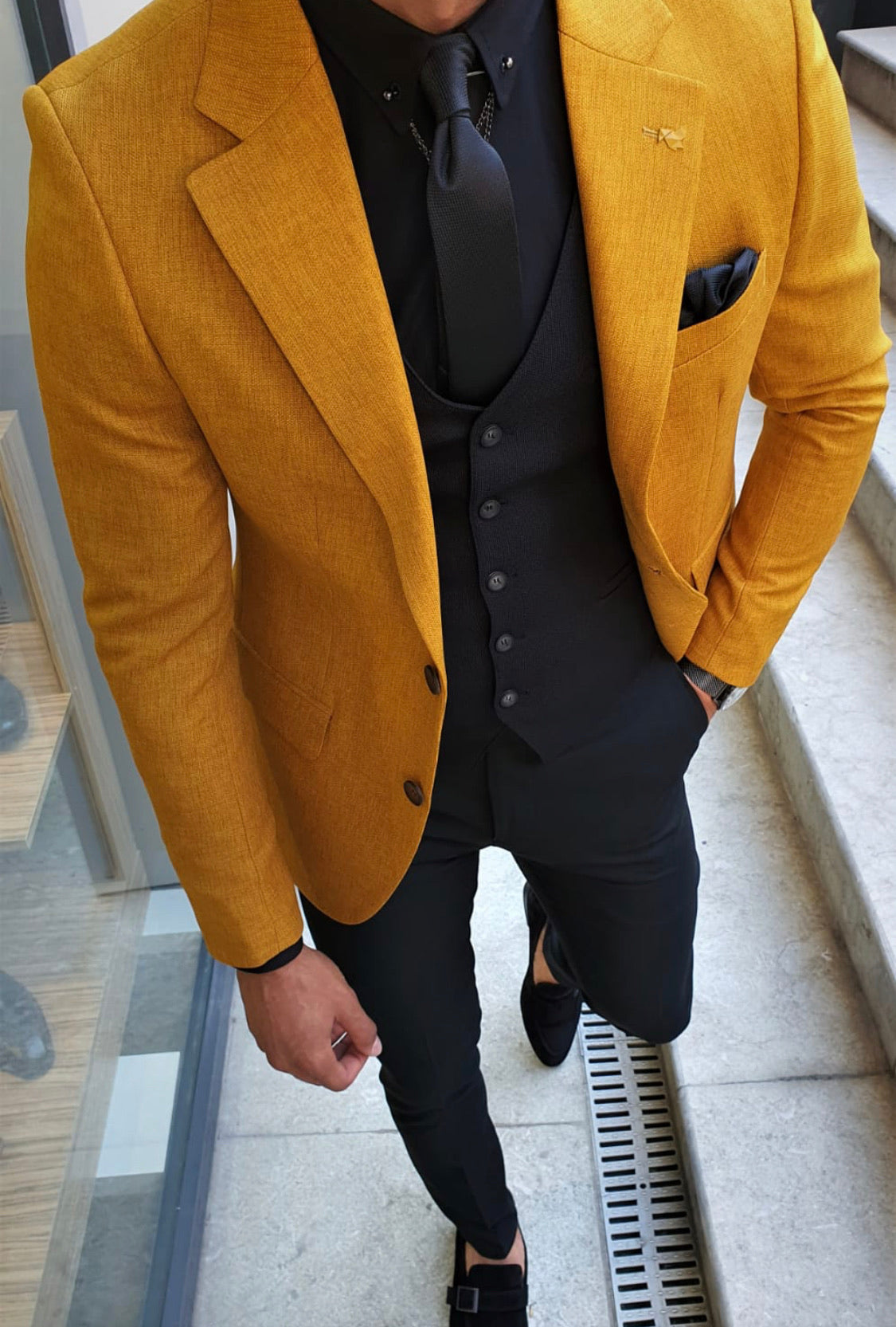 Ardenza Mustard Slim Fit Suit