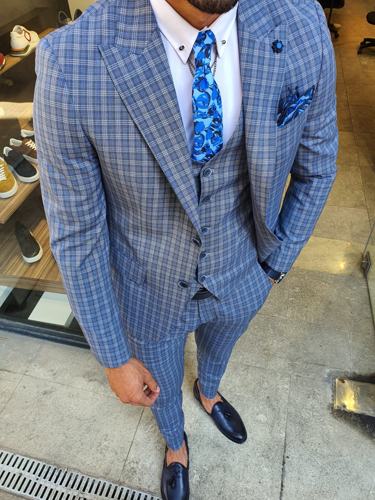 Abeston Navy Blue Slim Fit Plaid Check Suit