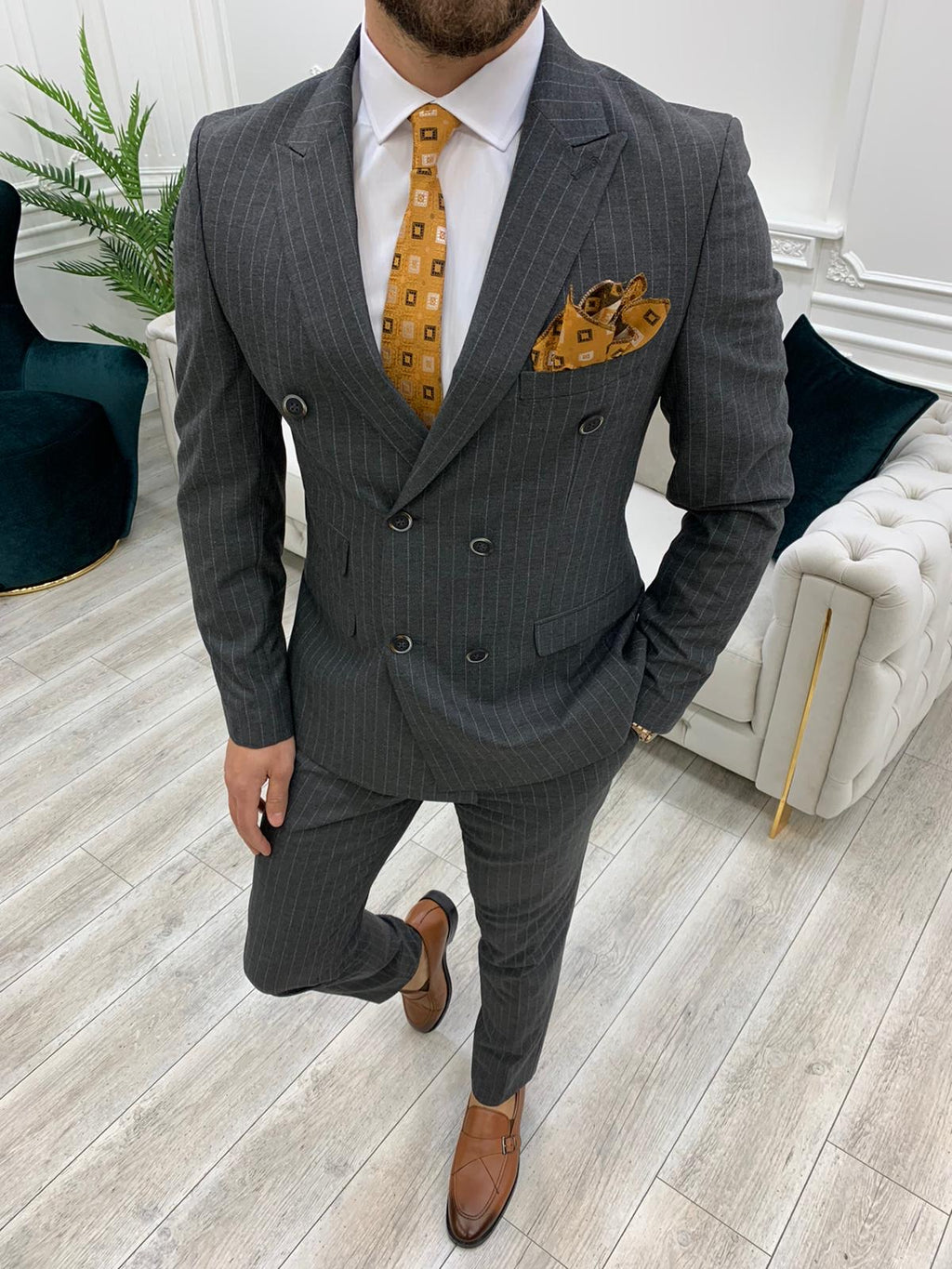 Furino Gray Slim Fit Double Breasted Pinstripe Suit