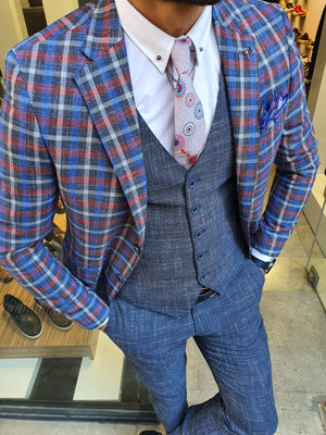 Caravajo Navy Blue Slim Fit Plaid Check Suit