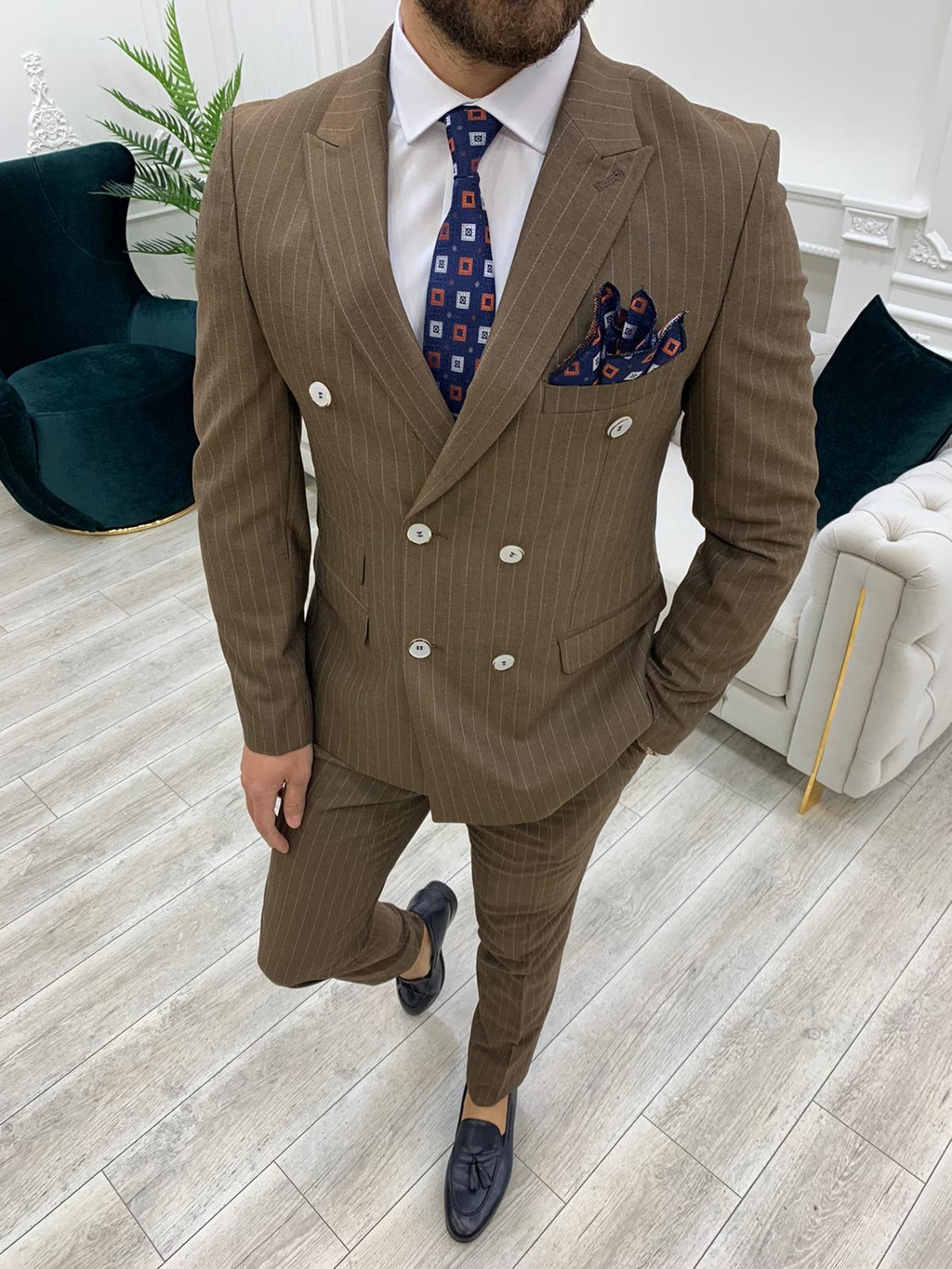 Furino Brown Slim Fit Double Breasted Pinstripe Suit