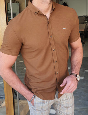 Akron Camel Slim Fit Short Sleeve Shirt