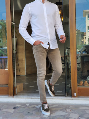 Mantova White Slim Fit Long Sleeve Cotton Shirt