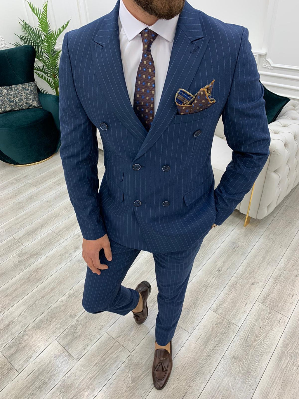 Furino Navy Blue Slim Fit Double Breasted Pinstripe Suit