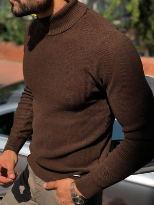 Slim-Fit Turtleneck knitwear Brown
