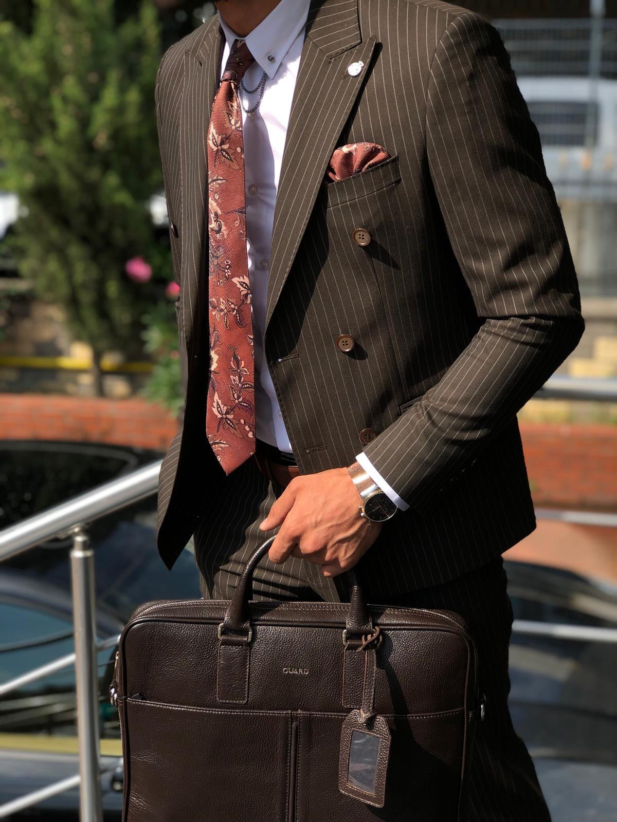 Mustard Slim-Fit Striped Double Breasted  Suit Vest Brown