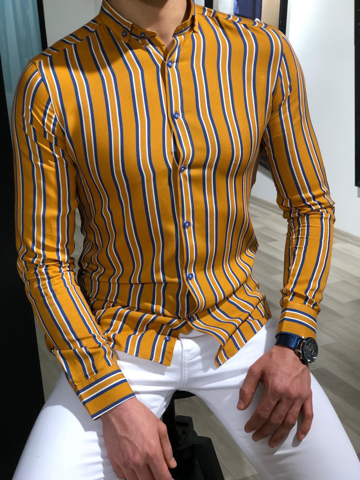 Benso Slim-Fit Striped Shirt (4 Colors)