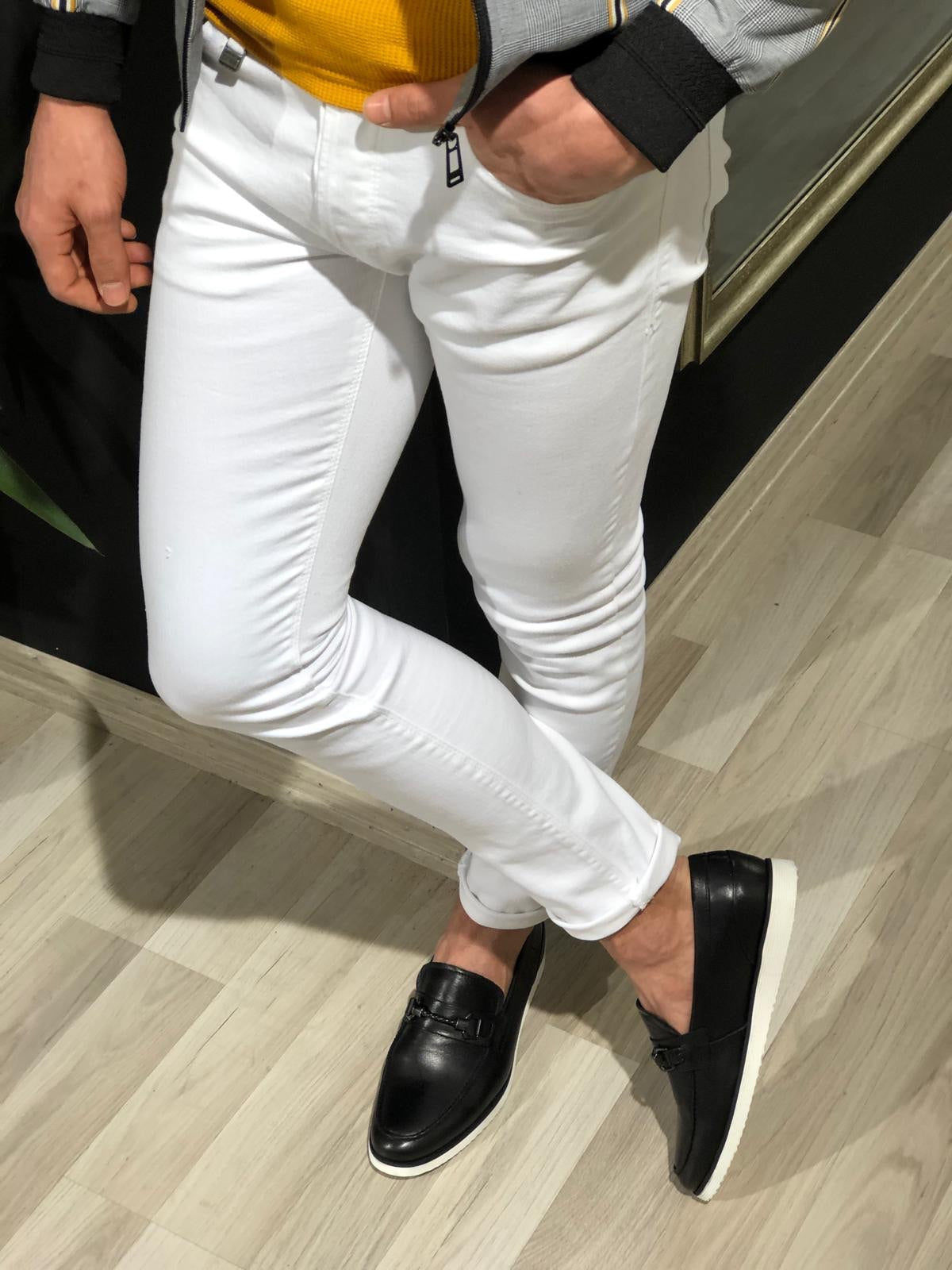 Tettra Slim-Fit Lycra Jeans In White